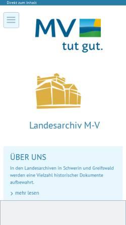 Vorschau der mobilen Webseite www.kulturwerte-mv.de, Landesarchiv Greifswald