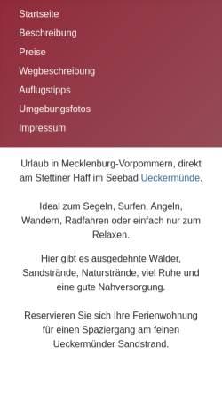 Vorschau der mobilen Webseite www.fewo-mandelkow.de, Ferienwohnung Mandelkow