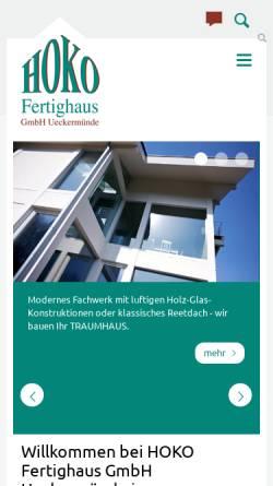Vorschau der mobilen Webseite www.hoko-haus.de, HOKO Fertighaus GmbH