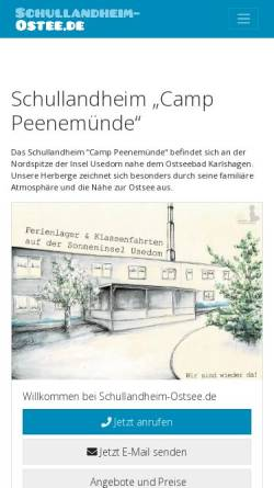 Vorschau der mobilen Webseite www.usedom-camp.de, Schullandheim Camp Peenemünde