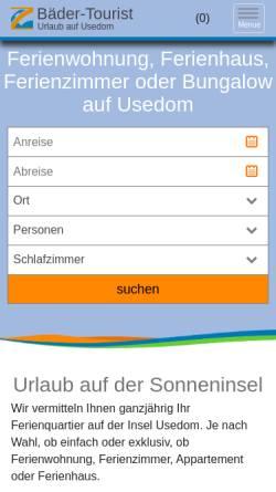 Vorschau der mobilen Webseite www.baeder-tourist.de, Bäder Tourist Zimmervermittlung