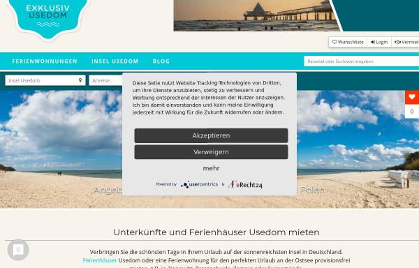 Vorschau von www.exklusiv-usedom.de, Exklusiv Usedom Gastgeberverzeichnis