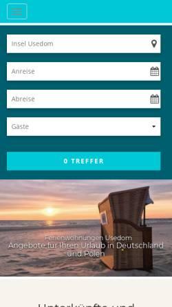 Vorschau der mobilen Webseite www.exklusiv-usedom.de, Exklusiv Usedom Gastgeberverzeichnis