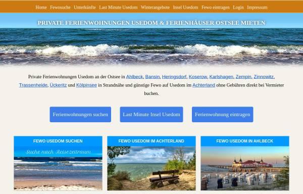 Vorschau von www.fewos-usedom.de, Ferienwohnungen-Verzeichnis von Andreas Böckler