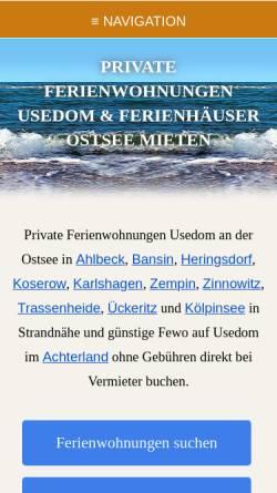 Vorschau der mobilen Webseite www.fewos-usedom.de, Ferienwohnungen-Verzeichnis von Andreas Böckler