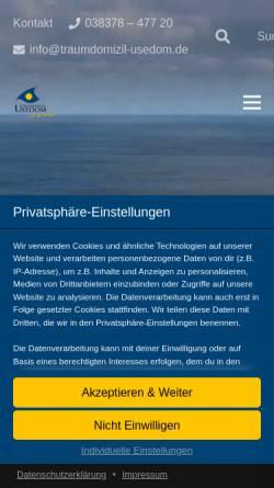 Vorschau der mobilen Webseite www.traumdomizil-usedom.de, Traumdomizil Usedom; Inhaber: Andreas Budeck