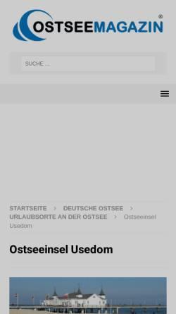 Vorschau der mobilen Webseite www.insel-usedom-urlaub.de, Urlaubsunterkünfte-Verzeichnis; Inhaber: David Teichert