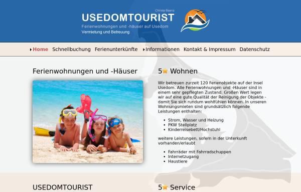 Vorschau von www.usedomtourist.de, Usedom Tourist, Inhaber Christa Baenz