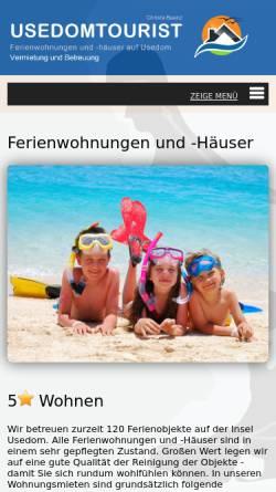 Vorschau der mobilen Webseite www.usedomtourist.de, Usedom Tourist, Inhaber Christa Baenz