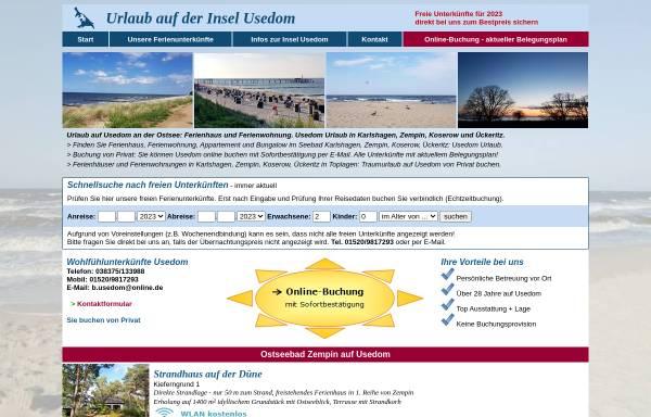 Vorschau von www.b-usedom.de, Vermietung von Ferienunterkünften, Inhaber W. Boehle