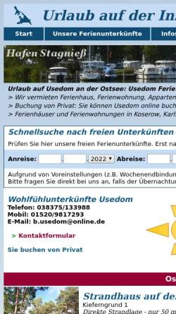Vorschau der mobilen Webseite www.b-usedom.de, Vermietung von Ferienunterkünften, Inhaber W. Boehle