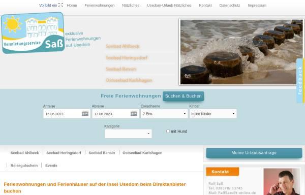 Vorschau von www.usedom-kaiserbaeder.de, Vermietungsservice Sass
