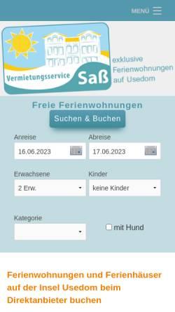 Vorschau der mobilen Webseite www.usedom-kaiserbaeder.de, Vermietungsservice Sass