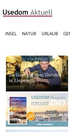 Vorschau der mobilen Webseite www.usedom-aktuell.de, Magazin Usedom aktuell