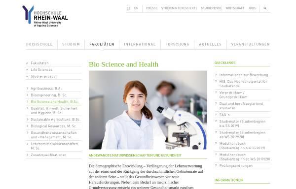 Vorschau von www.hochschule-rhein-waal.de, Bachelor für Bio Science and Health an der Hochschule Rhein-Waal