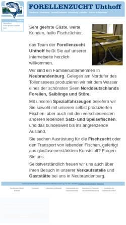 Vorschau der mobilen Webseite www.forellenzucht-uhthoff.de, Forellenzucht Uhthoff GmbH