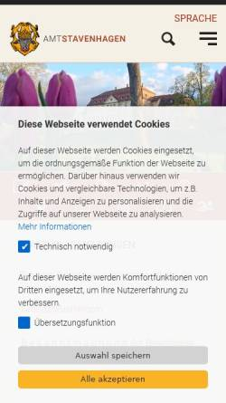 Vorschau der mobilen Webseite www.stavenhagen.de, Reuterstadt Stavenhagen