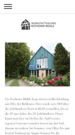 Vorschau der mobilen Webseite www.rothener-muehle.de, Galerie & Werkstatt Rothener Mühle