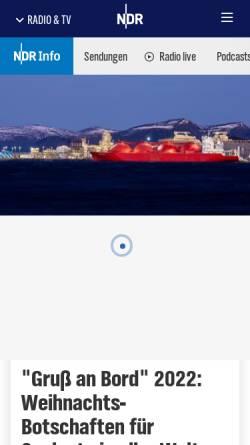 Vorschau der mobilen Webseite www.ndr.de, Gruß an Bord - NDR Info und NDR 90,3