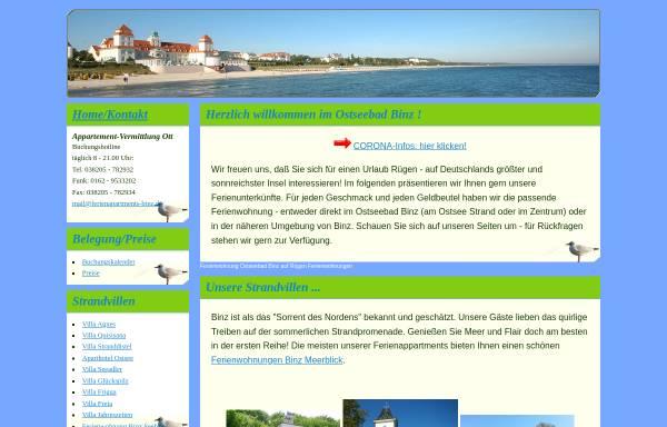 Vorschau von www.ferienapartments-binz.de, Appartement-Vermittlung Edda Ott