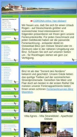 Vorschau der mobilen Webseite www.ferienapartments-binz.de, Appartement-Vermittlung Edda Ott