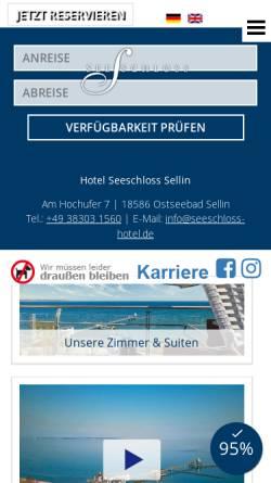 Vorschau der mobilen Webseite www.seeschloss-sellin.de, Hotel Seeschloß im Ostseebad Sellin