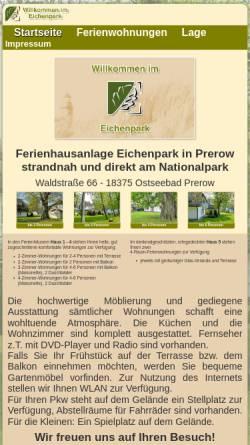 Vorschau der mobilen Webseite www.eichenpark-prerow.de, Eichenpark Ostseebad Prerow