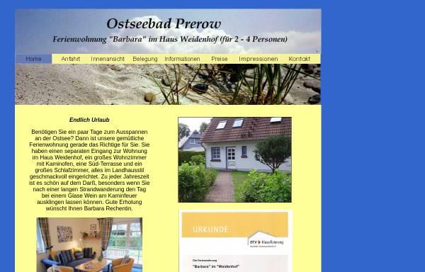 Vorschau von www.rechentin.de, Ferienwohnung Barbara; Inhaber: B. Rechentin