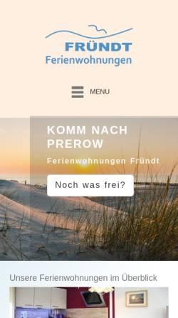 Vorschau der mobilen Webseite ostseebadprerow.de, Ferienwohnungen Fründt