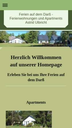 Vorschau der mobilen Webseite www.ferienulbricht.de, Ferienwohnungen und Apartments Astrid Ulbricht