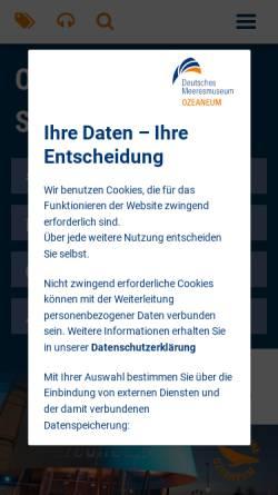 Vorschau der mobilen Webseite www.ozeaneum.de, Ozeanum - Deutsches Meeresmuseum