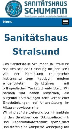 Vorschau der mobilen Webseite www.sanitaetshaus-schumann.de, Sanitätshaus Schumann