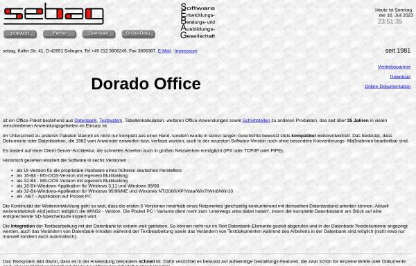 Vorschau von www.dorado.de, Sebag Dorado Office