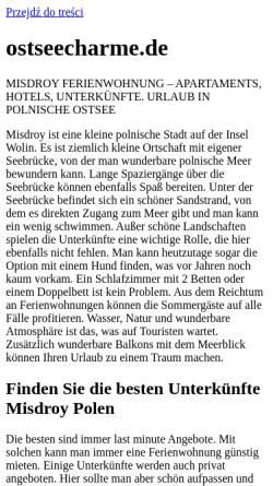 Vorschau der mobilen Webseite www.ostseecharme.de, Webcams im Ostseebad Prerow