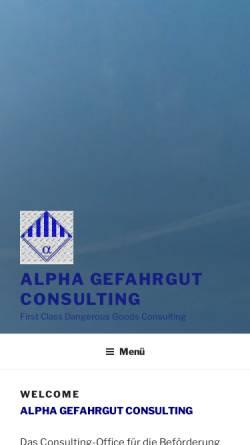Vorschau der mobilen Webseite www.alpha-gefahrgut-consulting.de, Alpha Gefahrgut Consulting