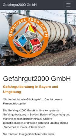 Vorschau der mobilen Webseite www.gefahrgut2000.de, Gefahrgut2000 - Gefahrgutberatung - Susann Miller