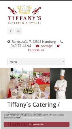 Vorschau der mobilen Webseite www.tiffanys-catering-hamburg.de, Tiffany's Catering & Events e.K.