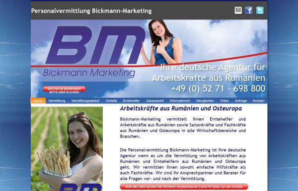 Vorschau von www.bickmann-marketing.de, Personalvermittlung Bickmann-Marketing