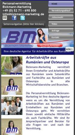 Vorschau der mobilen Webseite www.bickmann-marketing.de, Personalvermittlung Bickmann-Marketing