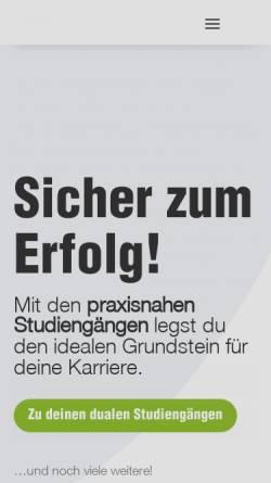 Vorschau der mobilen Webseite www.fhwt.de, Private Fachhochschule für Wirtschaft und Technik Vechta-Diepholz-Oldenburg gGmbH