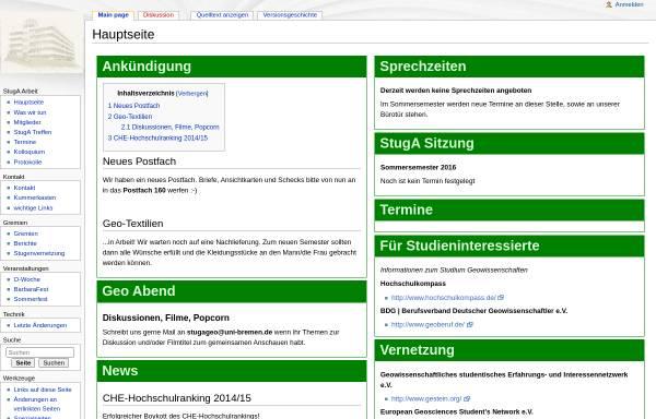 Vorschau von geowissenschaften.stugen.uni-bremen.de, StugA Geowissenschaften der Universität Bremen