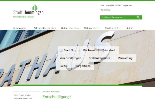 Vorschau von www.stadthemmingen.de, Büntebad Hemmingen - Stadt Hemmingen