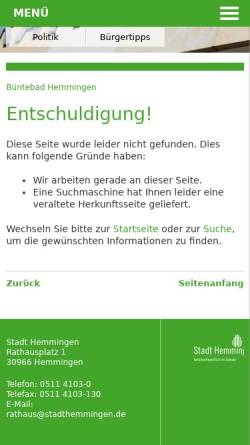 Vorschau der mobilen Webseite www.stadthemmingen.de, Büntebad Hemmingen - Stadt Hemmingen