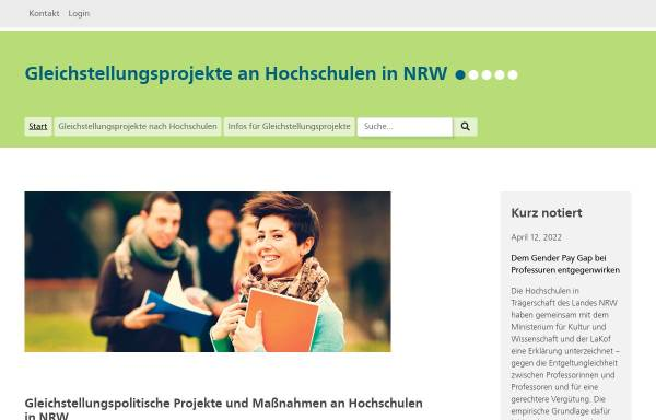 Vorschau von www.gleichstellung-hochschulen.nrw.de, Geschlechtergerechtigkeit an nordrhein-westfälischen Hochschule