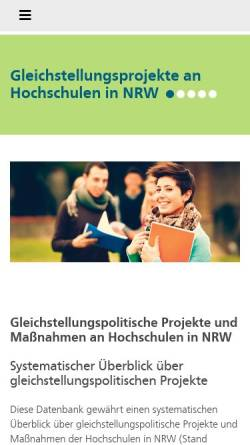 Vorschau der mobilen Webseite www.gleichstellung-hochschulen.nrw.de, Geschlechtergerechtigkeit an nordrhein-westfälischen Hochschule