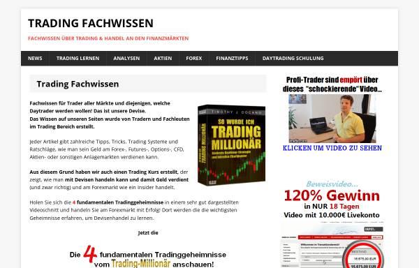 Vorschau von www.trading-fachwissen.de, Trading Fachwissen Website von Frédéric Ebner