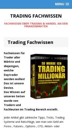 Vorschau der mobilen Webseite www.trading-fachwissen.de, Trading Fachwissen Website von Frédéric Ebner