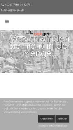 Vorschau der mobilen Webseite www.peegee.de, PeeGee-Internetservice, Peter Gebhardt