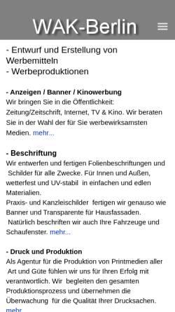 Vorschau der mobilen Webseite www.wak.com, Wak, Stefan Klauck