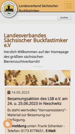 Vorschau der mobilen Webseite buckfast-sachsen.de, Landesverband Sächsischer Buckfastimker e.V.